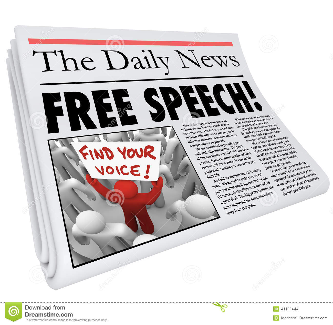 Free Speech Words In A Newspaper Headline To Illustrate Freedom Of