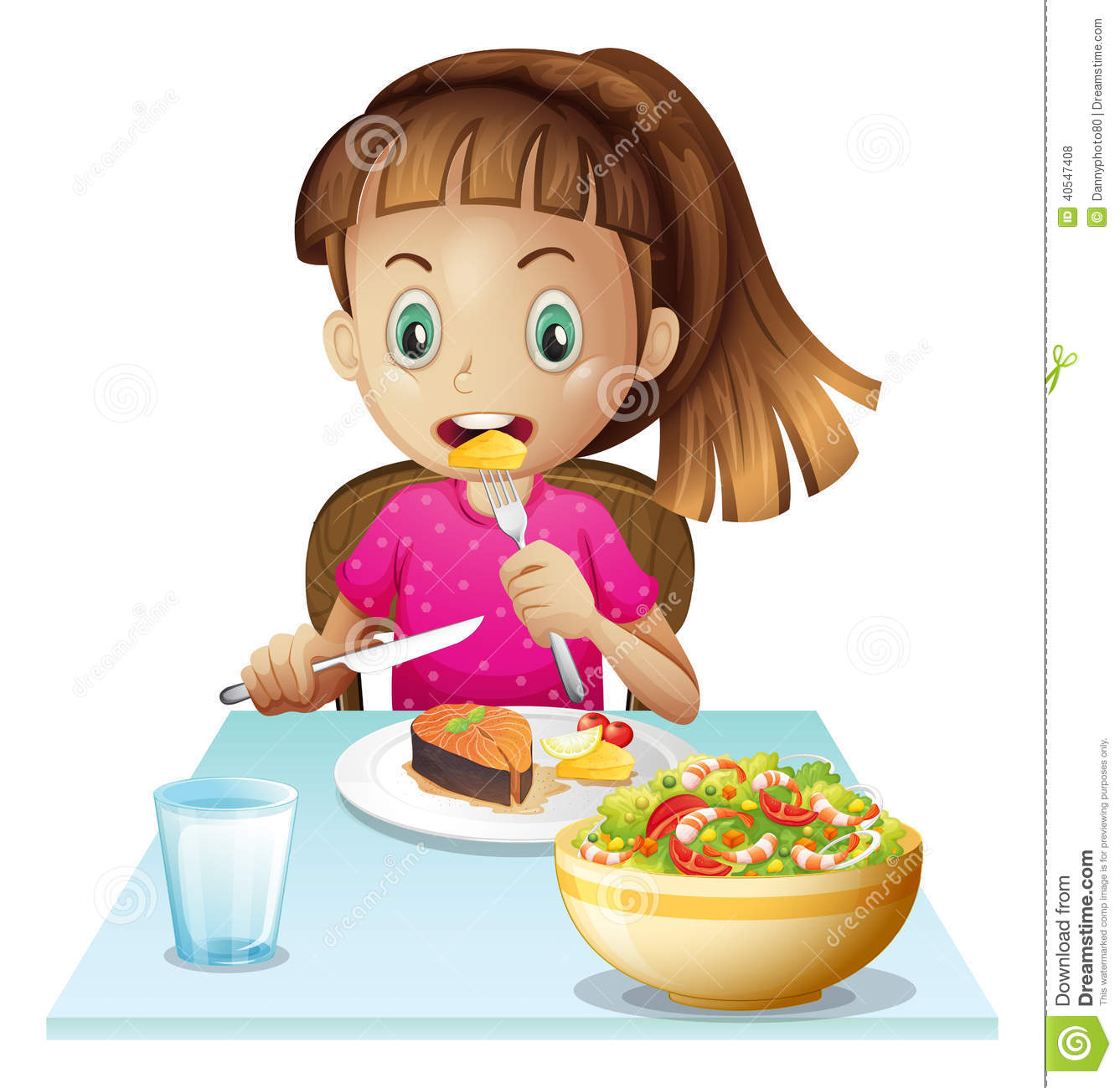 Illustration Of A Little Girl Eating Lunch On A White Background