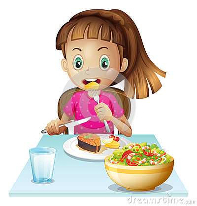 Little Girl Eating Lunch Royalty Free Stock Photos