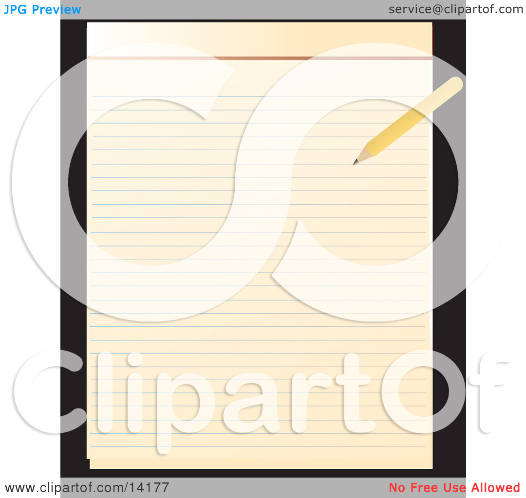 Pencil Writing On A Notepad Clipart Illustration By Rasmussen Images