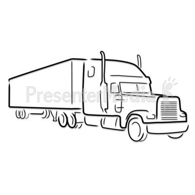 Semi Truck Outline Drawing   Presentation Clipart   Great Clipart For