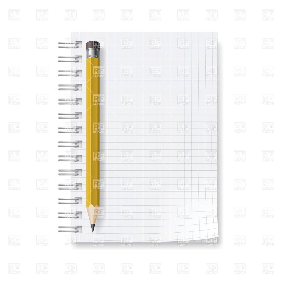 Spiral Notepad With Sheets In A Cage And Pencil With Eraser Download
