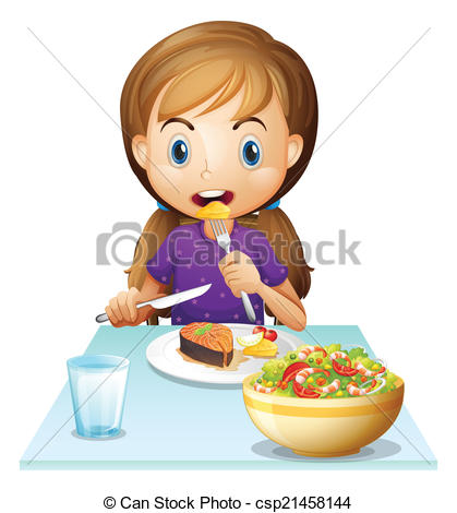 Vector Of A Hungry Girl Eating Lunch   Illustration Of A Hungry Girl