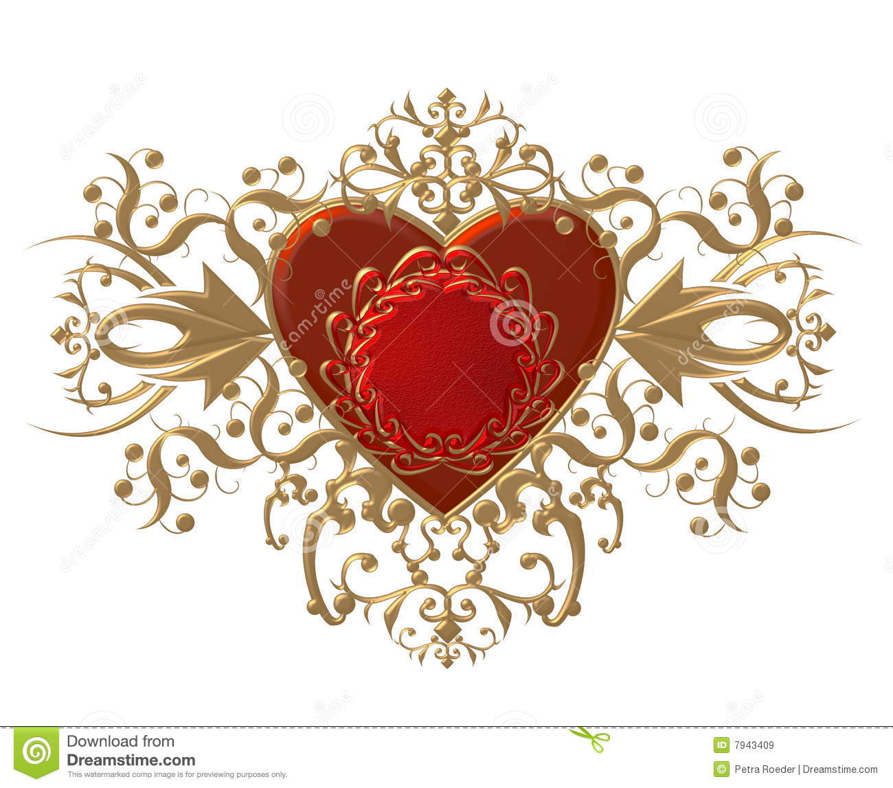 An Illustration Of A Red Heart With Gold Filigree Surrounding It