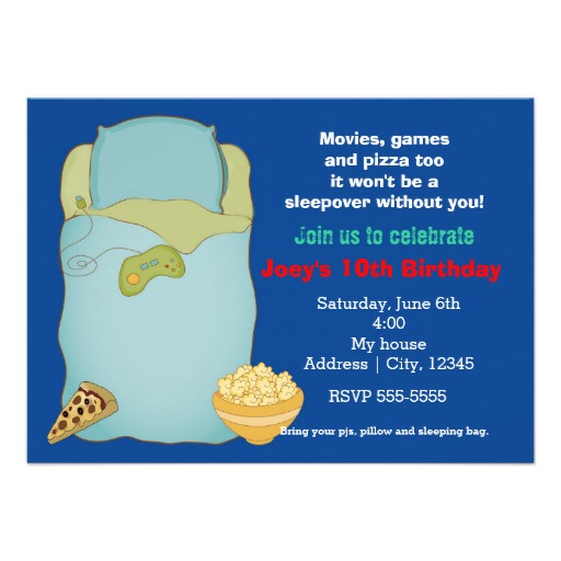 Boys Sleepover Slumber Party Birthday Invitation 4 5 X 6 25