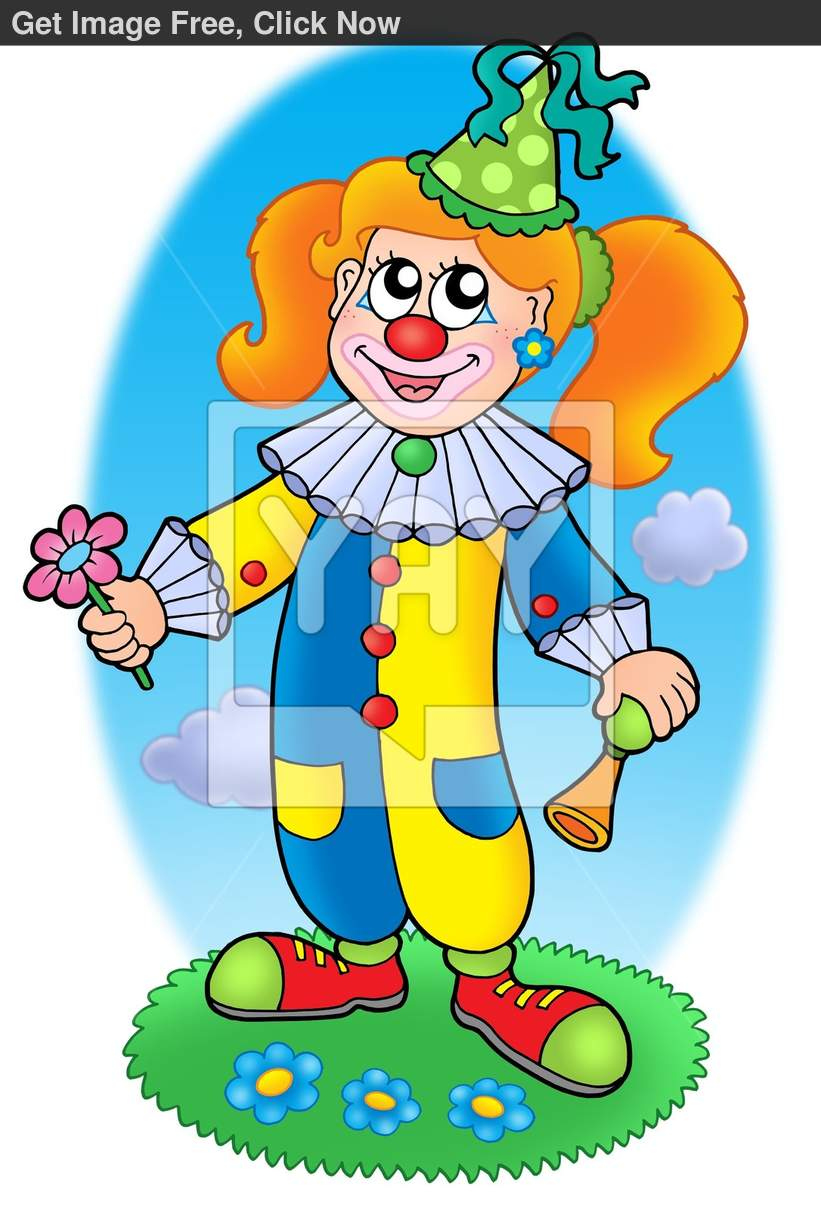 Cartoon Clown Girl On Circus Stage By Clairev   Toon Vectors Eps