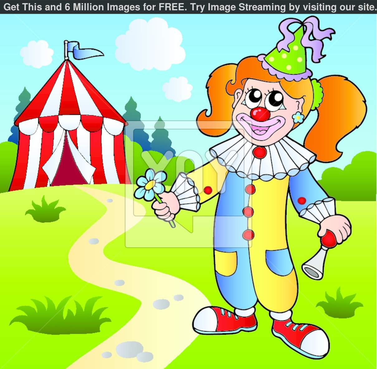 Cartoon Clown With Circus Tent Stock Images