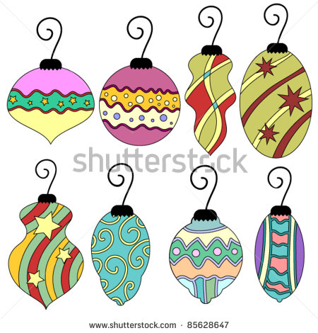 Colorful Whimsical Vector Christmas Bauble Collection   Stock Vector