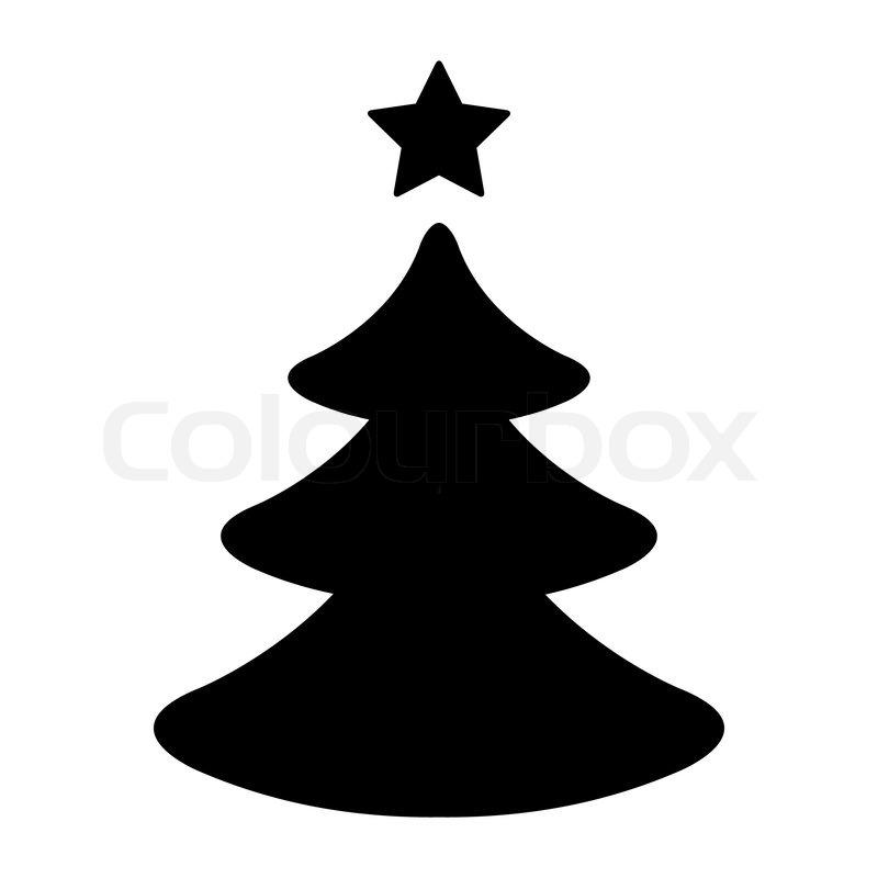 Einfacher Schwarz Wei Er Weihnachtsbaum Stock Vektor Colourbox