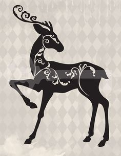 Filigree Reindeer Christmas Silhouette Original By Tanglesgraphics  1
