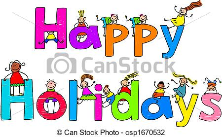 Happy Holidays Text Message With Little    Csp1670532   Search Clipart
