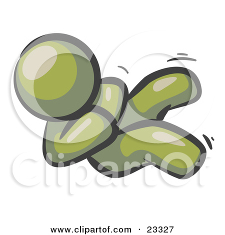 Happy Olive Green Man Rolling On The Floor And Giggling With