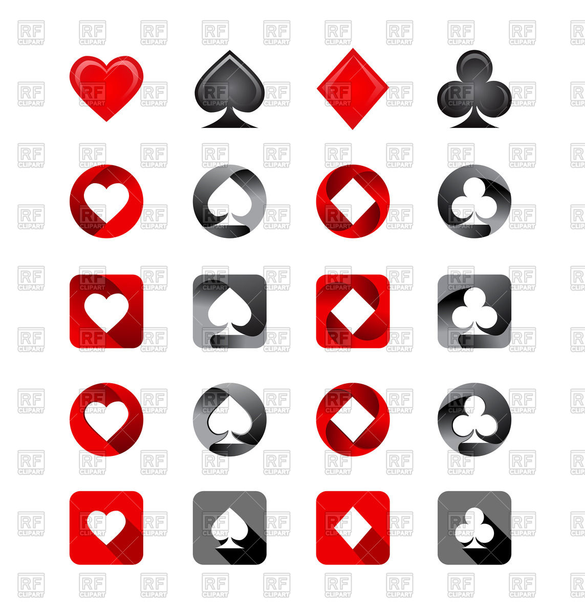 Playing Card Suits Icon Set 73348 Download Royalty Free Vector