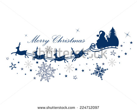 Reindeer With Santa Claus And Sleigh   Stock Vector