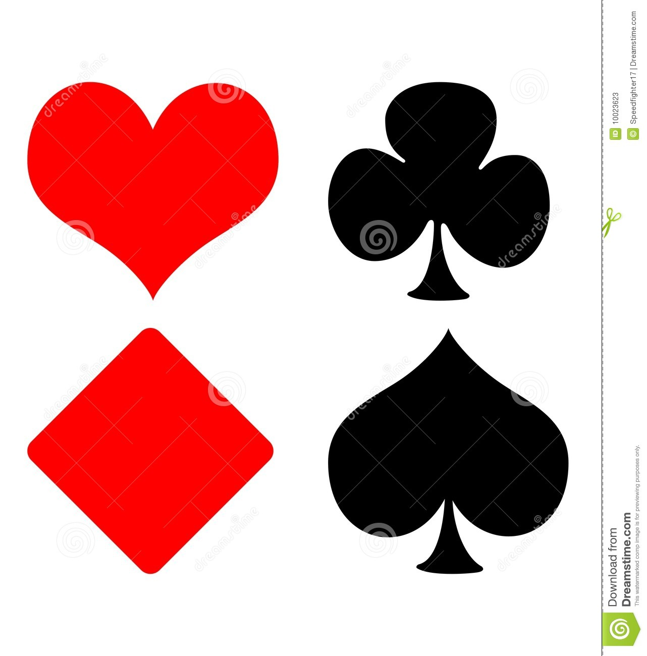 Set Of Four Playing Card Suits Hearts Clubs Diamonds And Spades