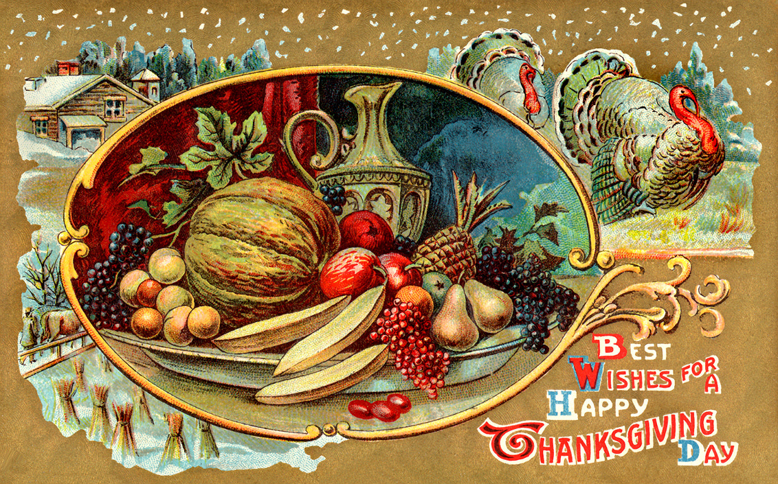 Clip Art Of A Vintage Thanksgiving Card Wallpaper Hd Wallpaper