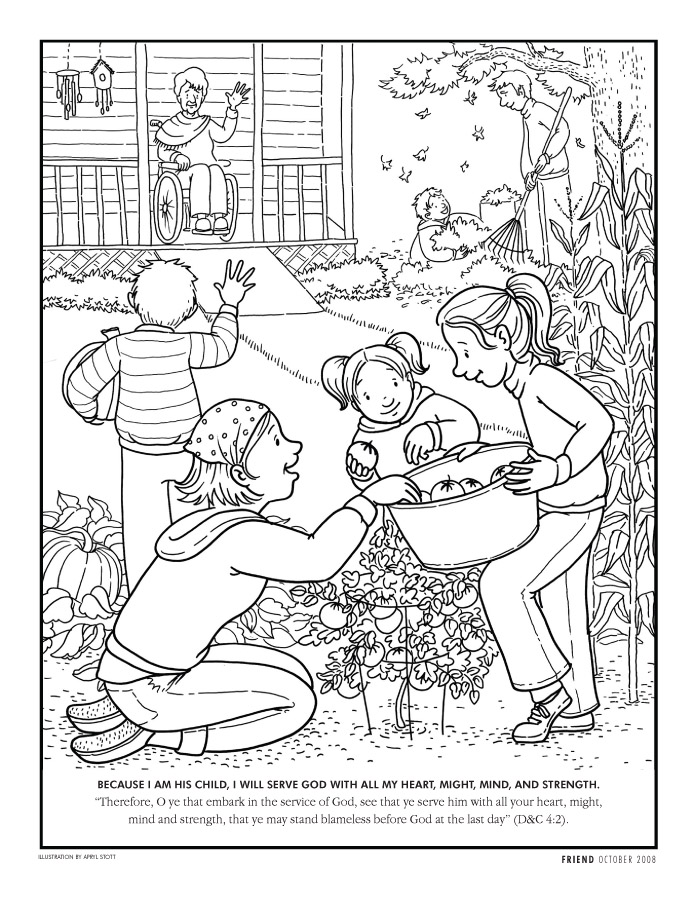 Color Love Service Coloring Pages From The Friend Magazine  Click On