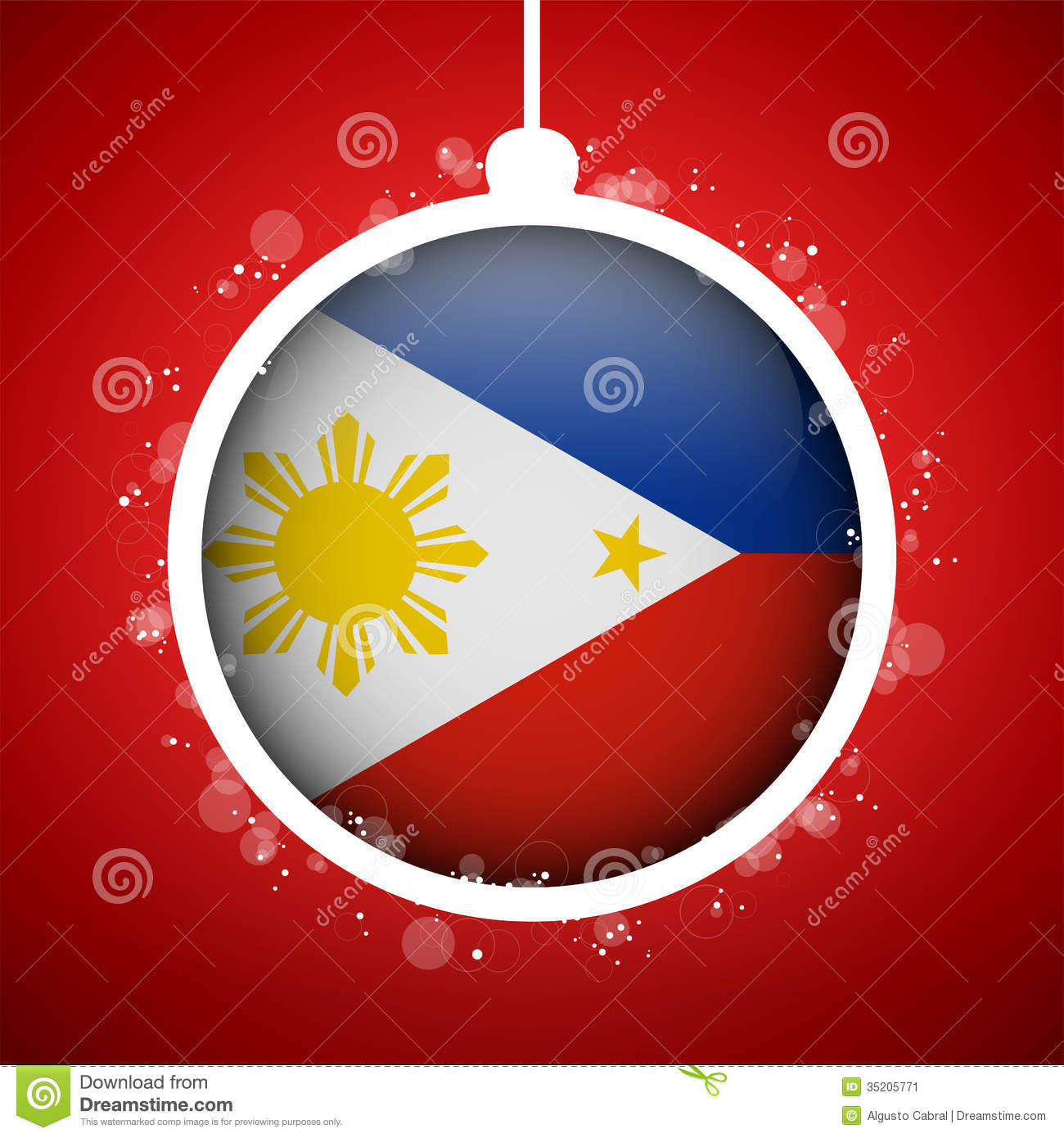 Merry Christmas Red Ball With Flag Philippines Stock Image   Image