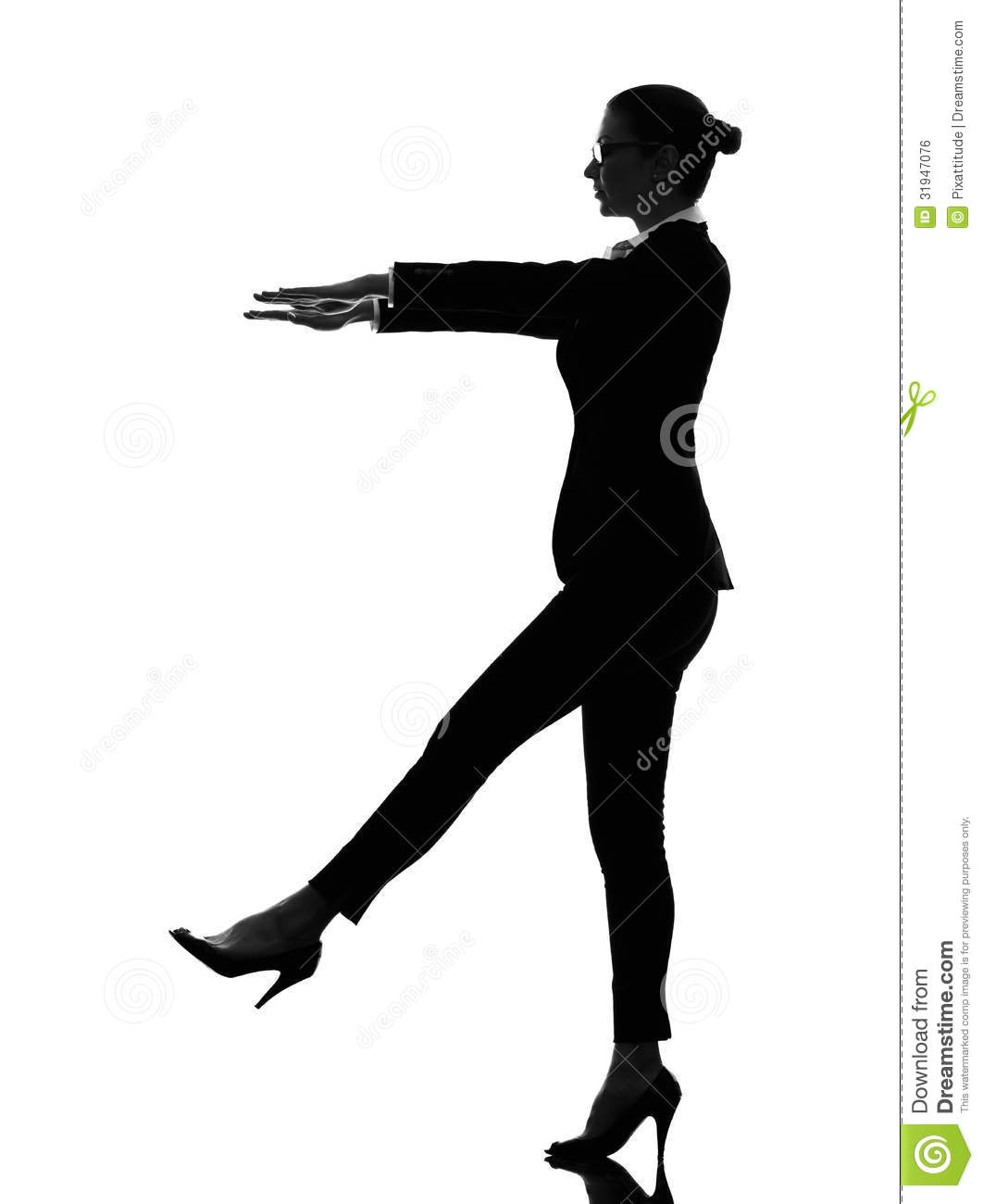 One Caucasian Business Woman Sleepwalking In Silhouette On White