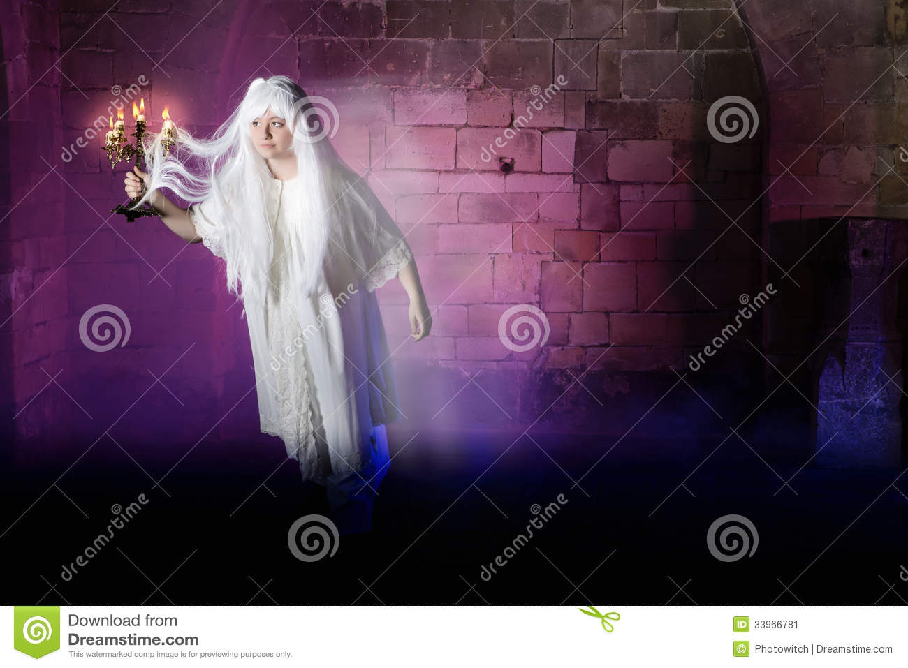 Pale Woman In Nightgown Sleepwalking Or A Ghost In A Medieval Castle