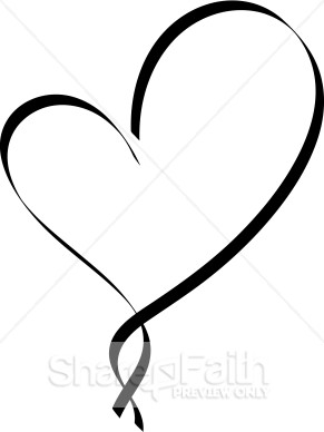 Ribbon Heart Outline   Christian Heart Clipart