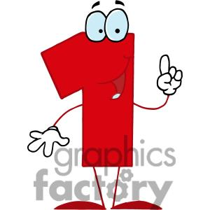 Royalty Free Happy Red Number 1 Clipart Image Picture Art   378281