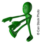 Sleepwalking   Green Guy Is Sleepwalking   3d Illustration