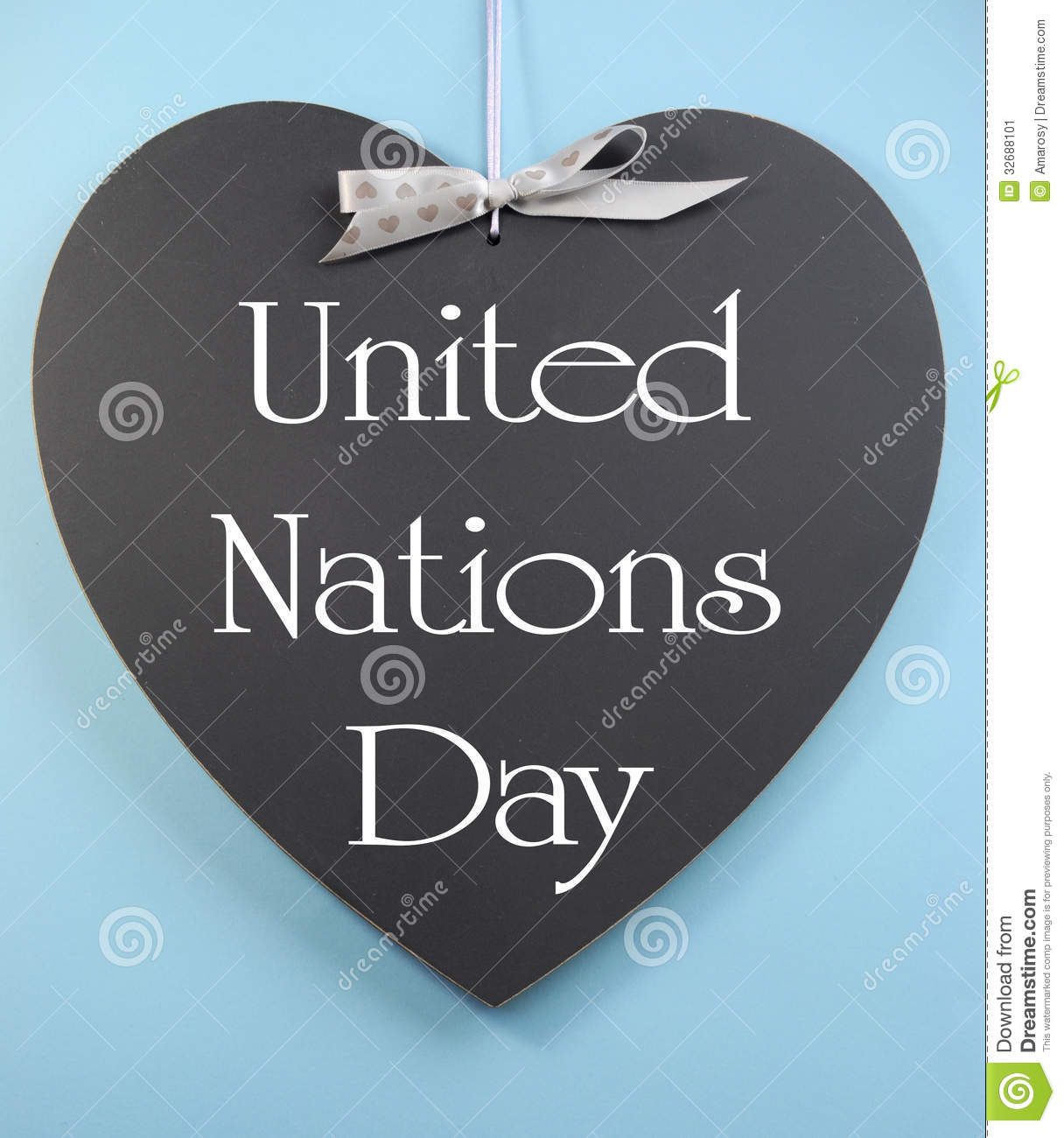 Stock Image  United Nations Day Text Message Greeting Written On Heart