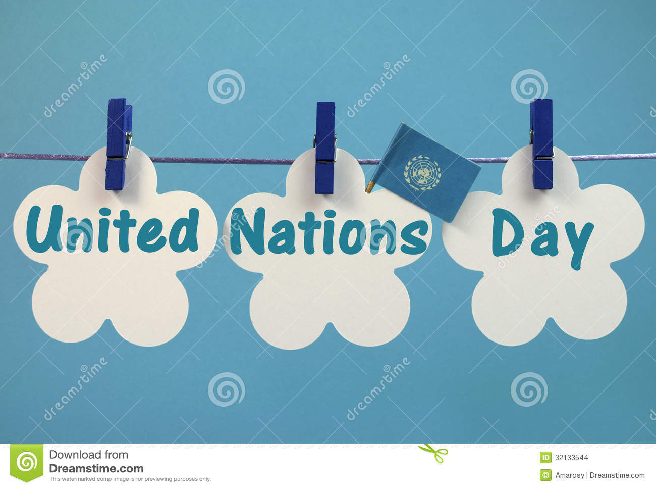 Stock Images  United Nations Day Greeting Message Written Across White