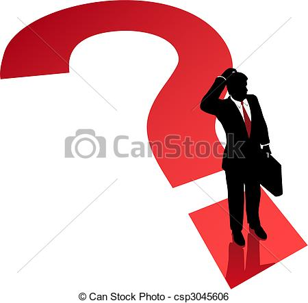 Vector   Question Mark Business Man Decision Confusion Problem   Stock