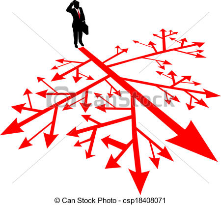 Vectors Illustration Of Business Man Search Path In Confusion   Person