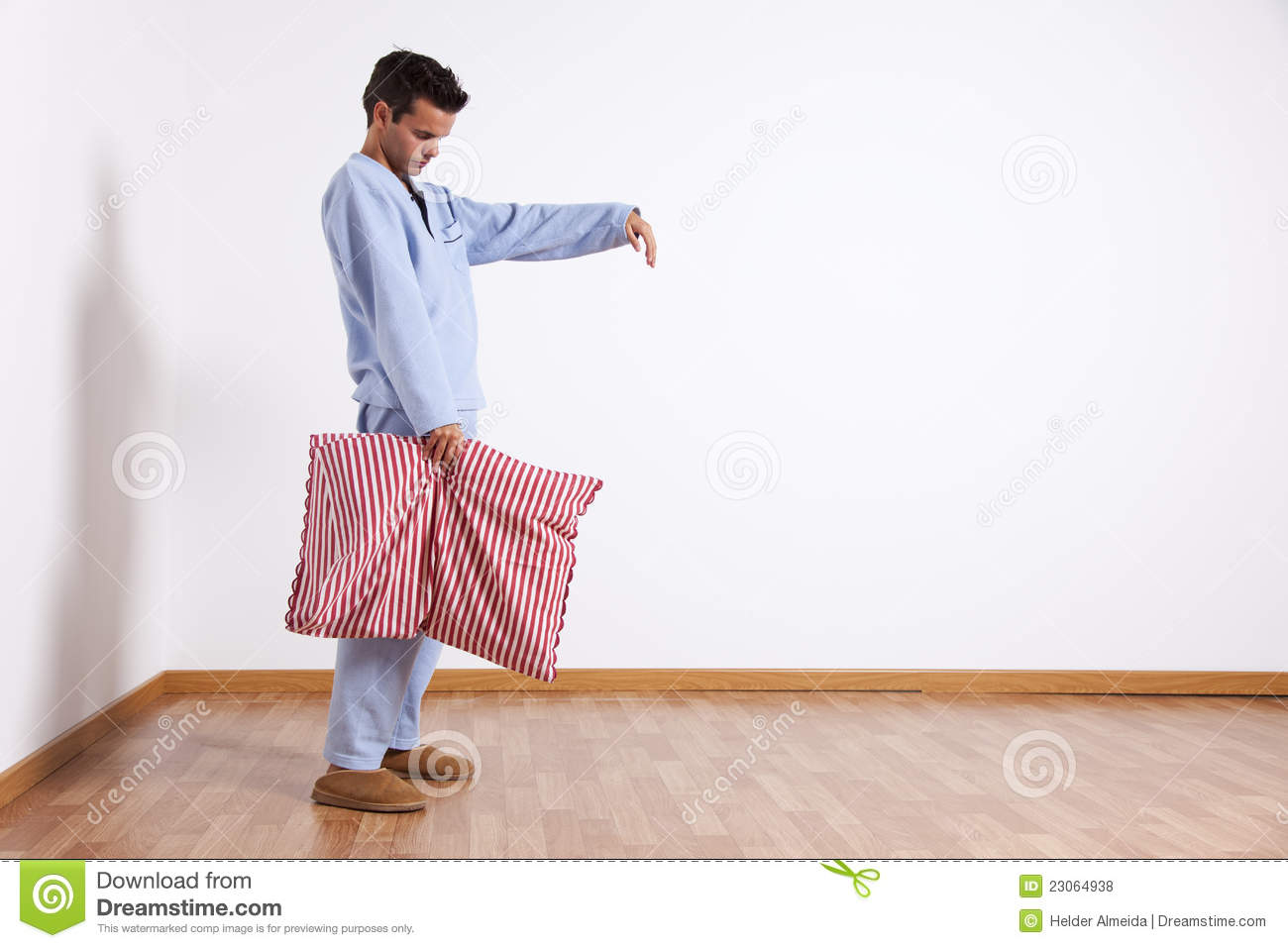 Young Man Sleepwalking At His Home Dress With Nightclothes  Isolated