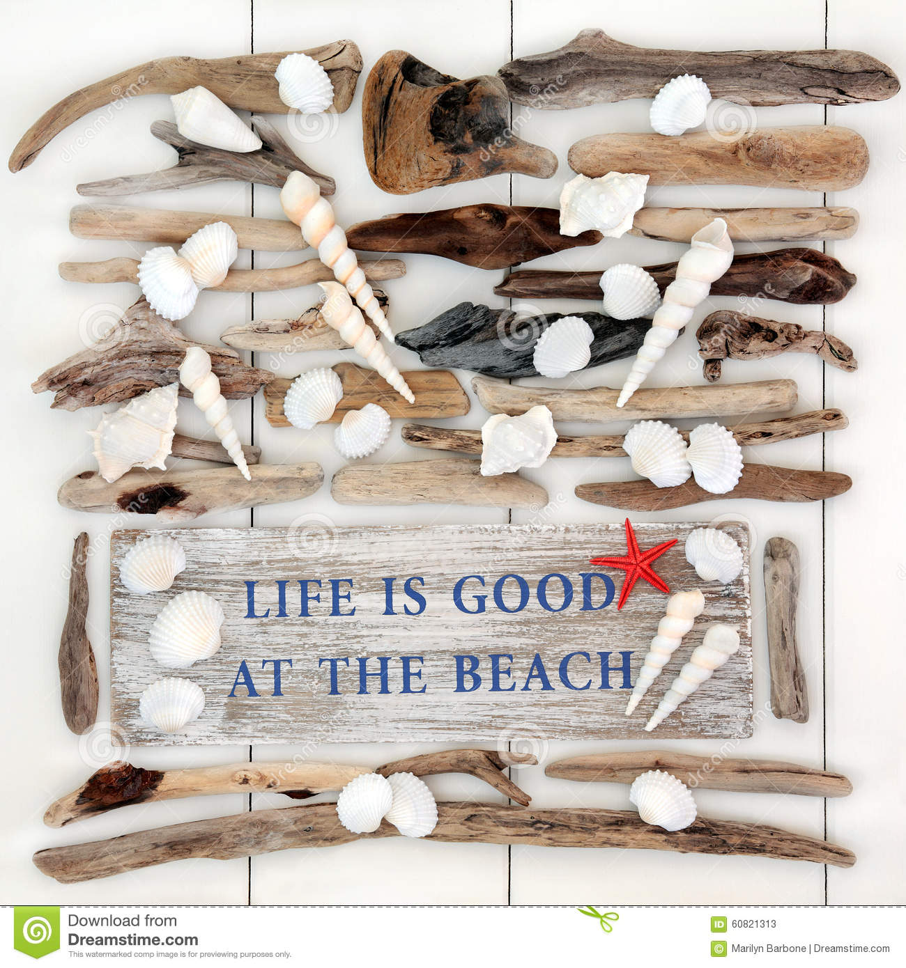 Abstract Background With Life Is Good At The Beach Sign With Driftwood