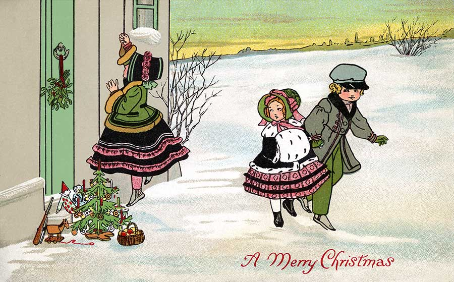 Children Giving Gifts On Christmas Eve   A Vintage Clip Art