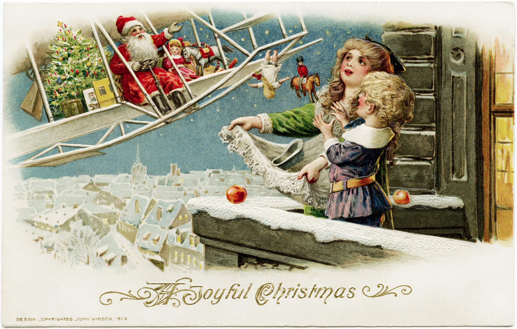 Gifts By Plane Santa Biplane Image Vintage Christmas Clipart Old