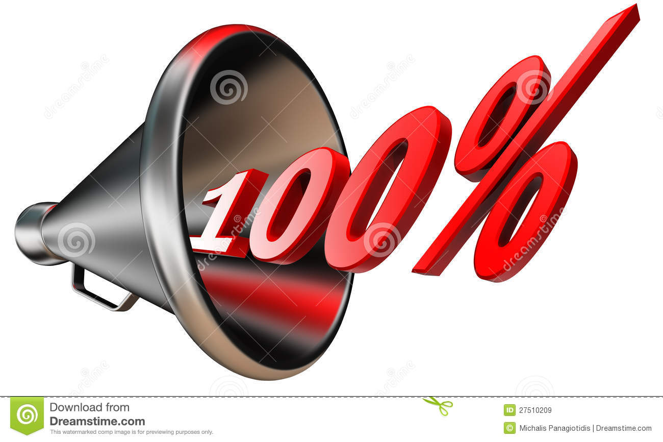 Hundred Per Cent 100  Red Symbol In Bullhorn Isolated On White