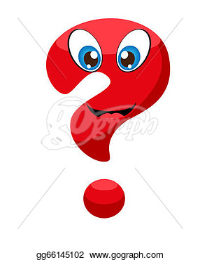 Illustration   Cute Red Question Mark With Eyes And A Smile   Clipart