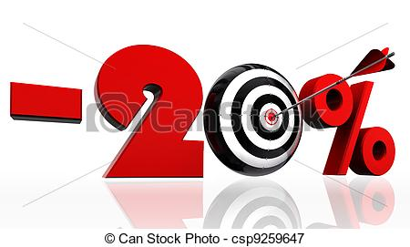 Illustration   Twenty Per Cent Discount Symbol With Conceptual Target