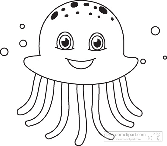 Jelly Fish Outline Clipart - Clipart Suggest