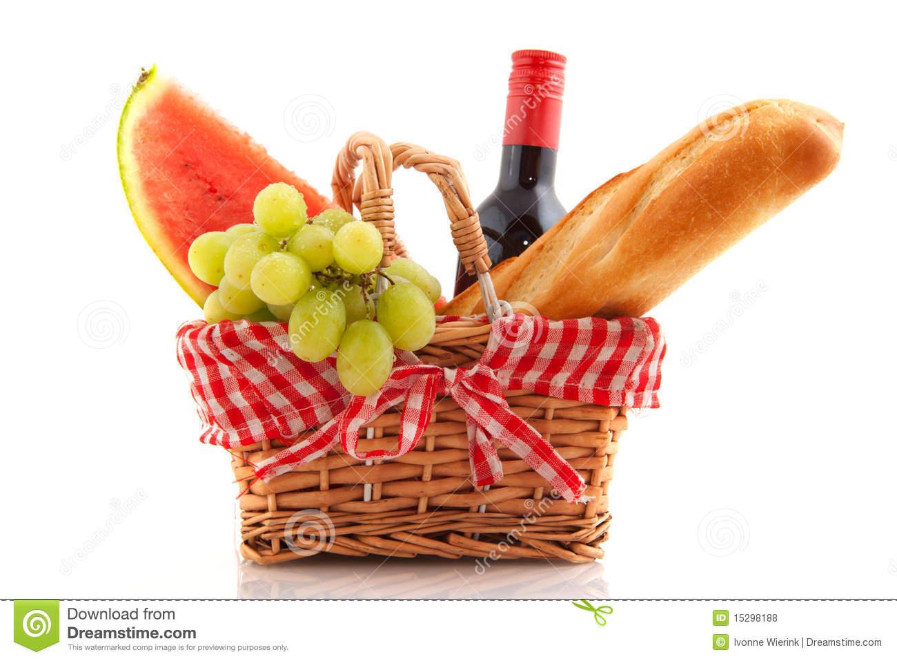 Picnic Basket Food : Picnic basket with food clip art