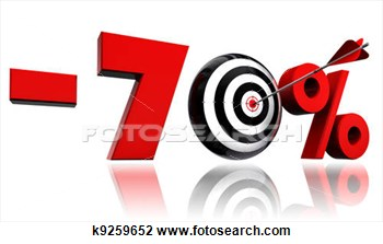 Seventy Per Cent Red Discount Symbol With Target And Arrow View Large