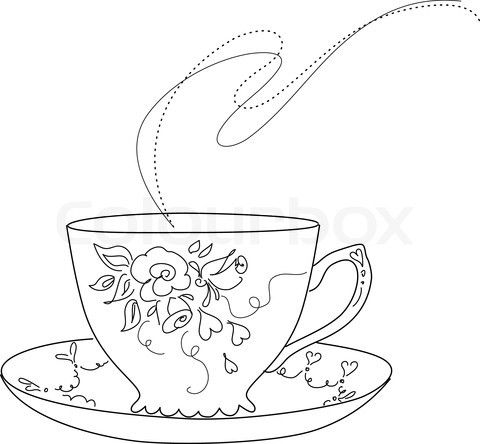 Sketch Of Fancy Tea Cup And Saucer Stock Vector Of Clip Clipart Tea