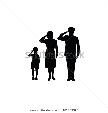 Soldier Family Salute Isolated Black On White Background   Stock