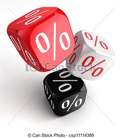 Stock Illustration Of Per Cent Symbol On Dice Cubes Red White Black