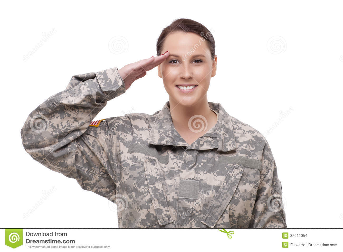 Stock Images  Female American Soldier Saluting