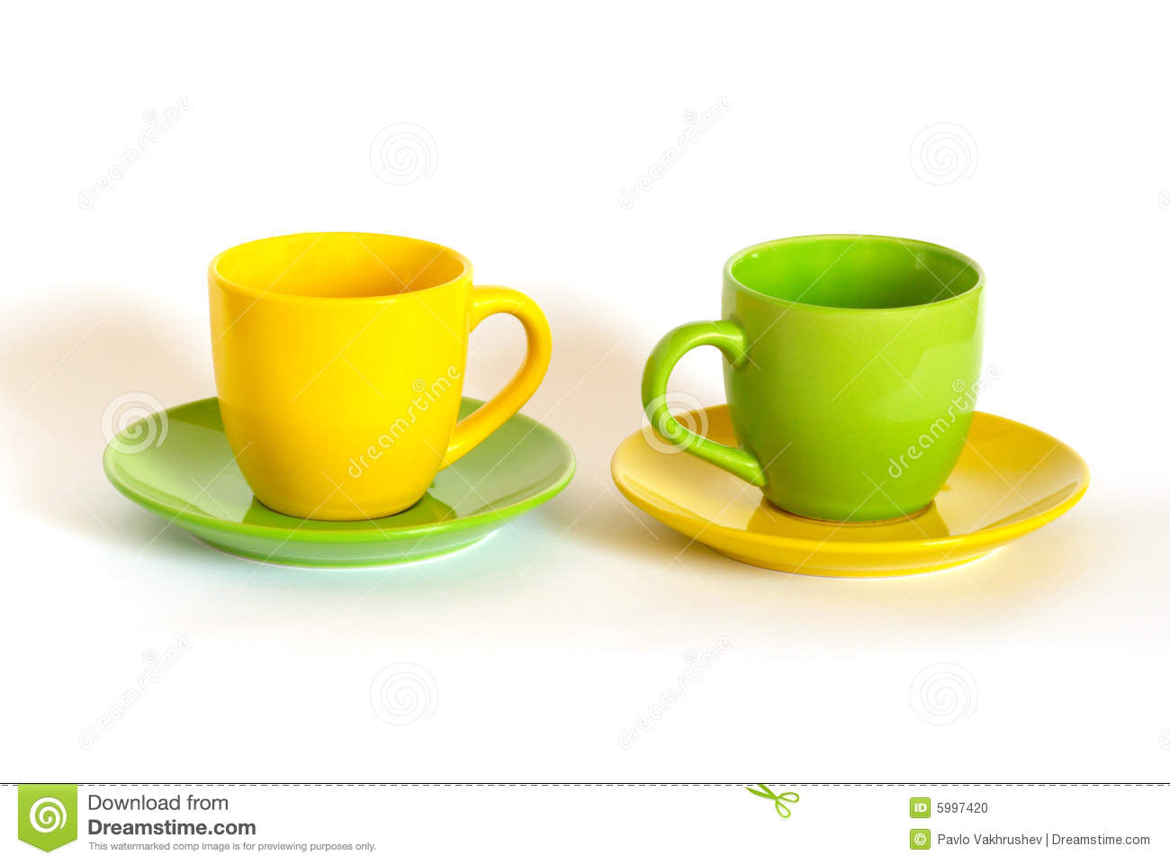 Two Colored Tea Cups And Saucers  Stock Photo   Image  5997420