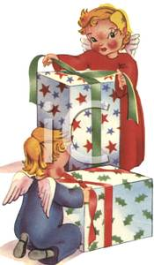 Vintage Cartoon Of Two Angels Wrapping Christmas Gifts   Royalty Free