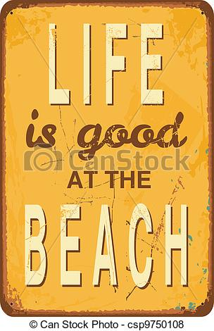 Vintage Style Tin Sign With Text Life Is Good At The Beach