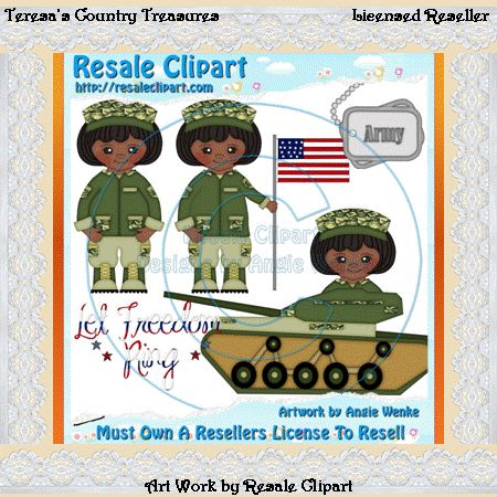 Army Girl African American Clipart   Graphics By Teresa S Country Tre