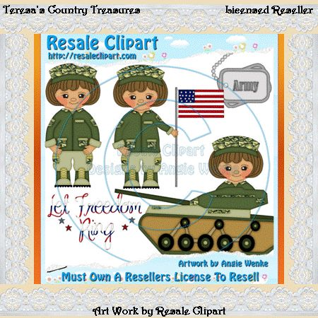 Army Girl With Brown Hair Clipart   Graphics By Teresa S Country Trea